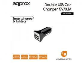 Approx APPUSBCAR31B Double USB Car Charger 3.1A Black